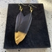 Black with Gold Feather Earrings