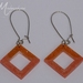 Peach and gold resin earrings