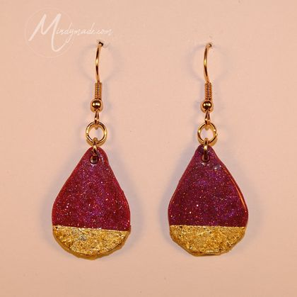 Gold gilded purple glitter drop earrings