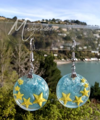 Circle star resin earrings
