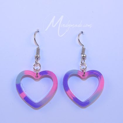Cute heart earrings neon colours *Free shipping*