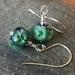 Glass bubble flower earrings - Emerald
