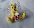 Kawaii needle felted fairy artist bear -----Faerie Bearie - Sunny