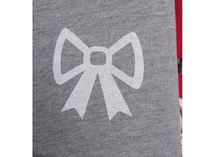 Grey scarf with white bow print