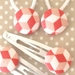 Geo Cube covered button Hair Clips or Hair Ties