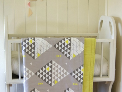 Organic Throw Blanket Or Baby Blanket Yellow And Grey Triangles Awesome Citron Throw Blanket