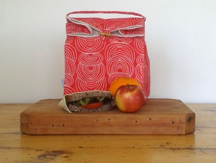 Happy Lunch Bag Coral Red Organic Canvas