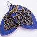 Cobalt blue filigree leaf earrings by odi (limited edition)