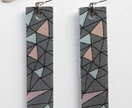 Triangle Mosiac earrings grey/colour version by Odi Boutique Jewellery