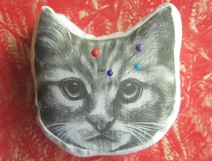 Printed Pincushion - Kitty