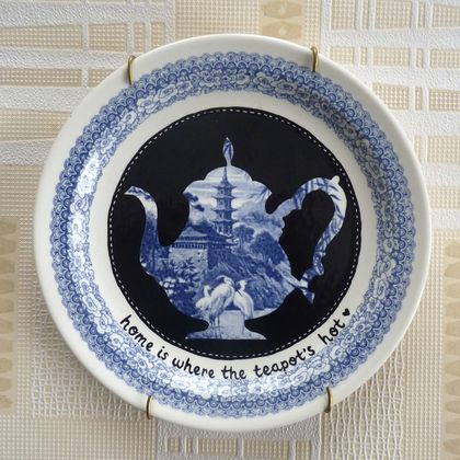 Home is where the teapot's hot – upcycled vintage plate