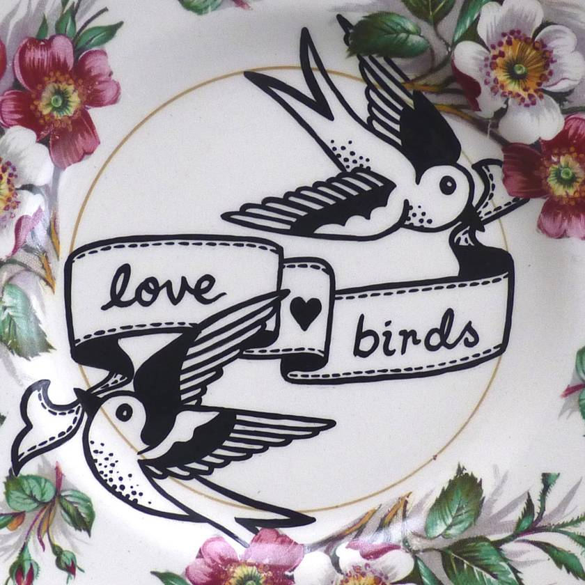 Love Birds Banner – upcycled vintage plate