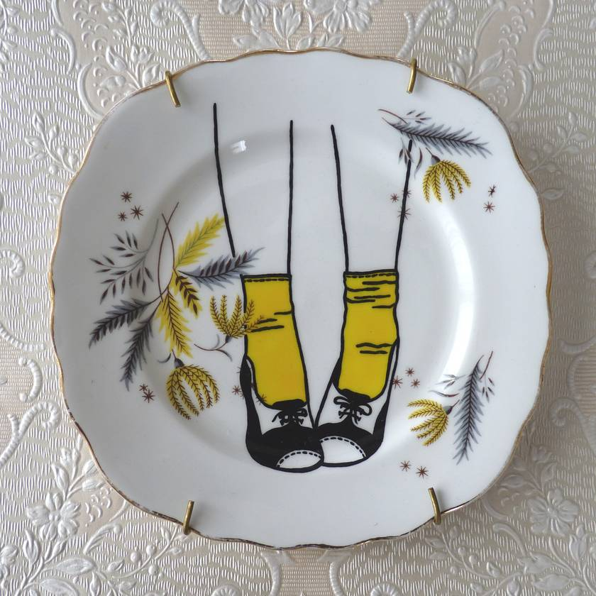 Yellow Socks – upcycled vintage plate