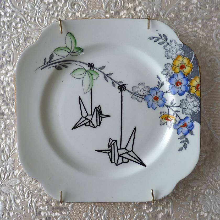 Origami Birds – upcycled vintage plate
