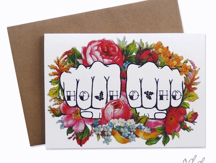 Ho Ho Ho - Knuckle Tattoo Christmas Card