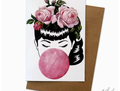 Miss Bubblegum - greeting card