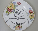 I love you Upcycled vintage plate