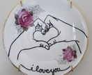 I love you – upcycled vintage plate