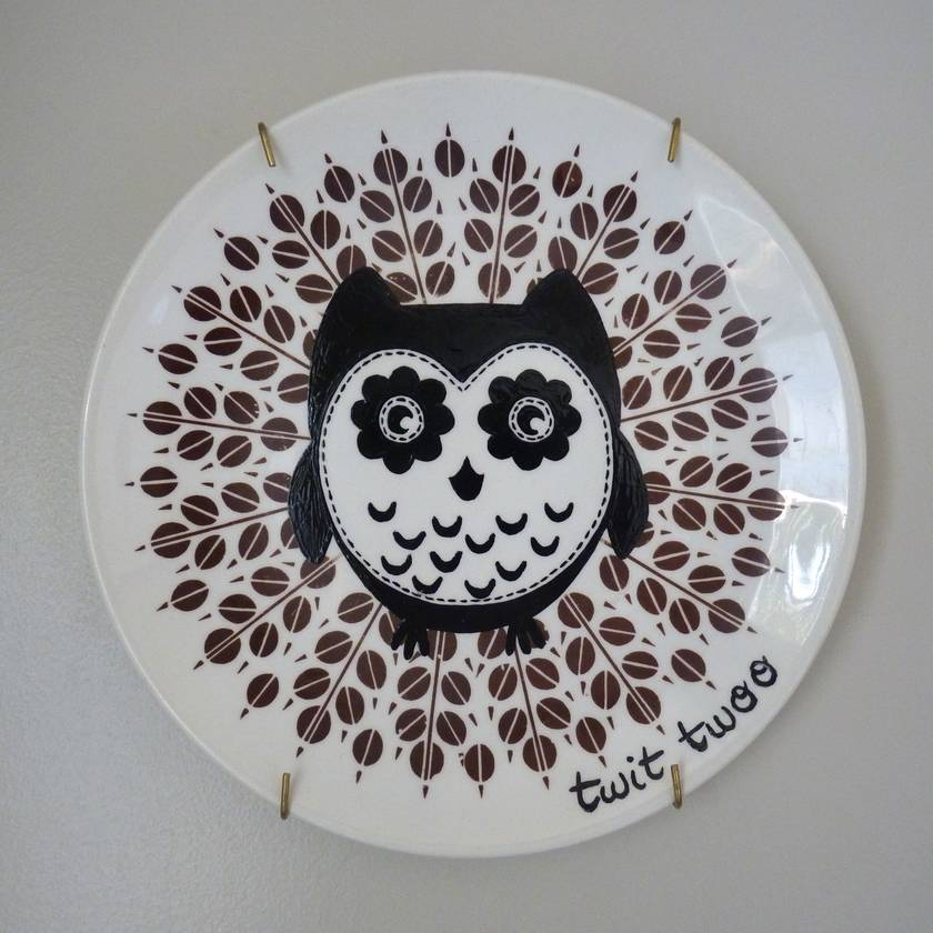 Twit Twoo – upcycled vintage plate