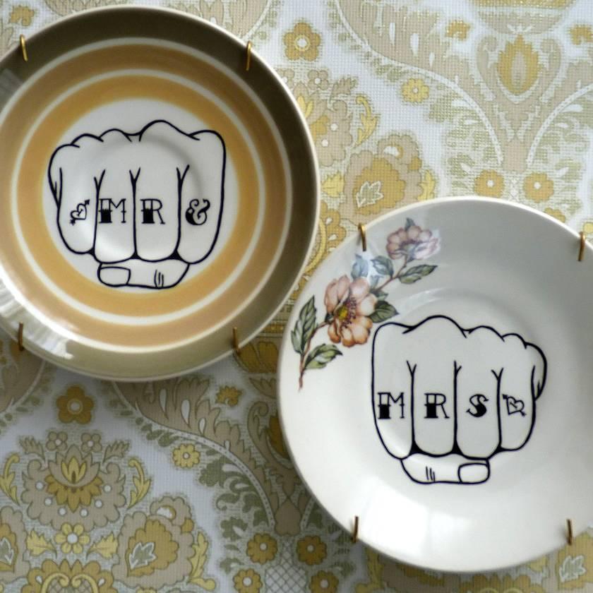 Mr & Mrs knuckle tattoo – upcycled vintage plates