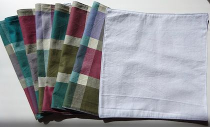 Set of eight 100% cotton small napkins, wipes, or handkerchiefs