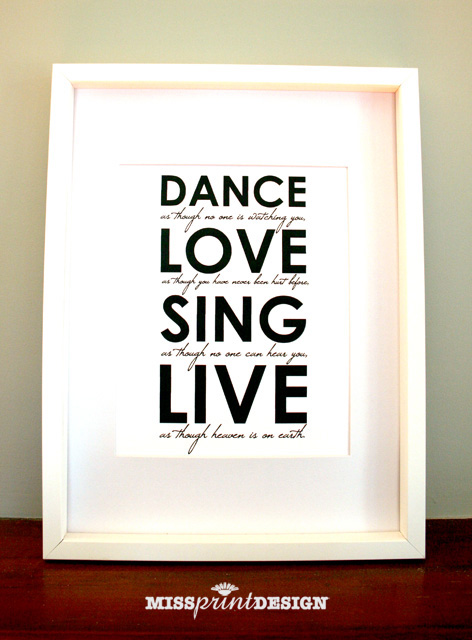 Dance Love Sing Live Home Decor Wall Art 8x10 Felt