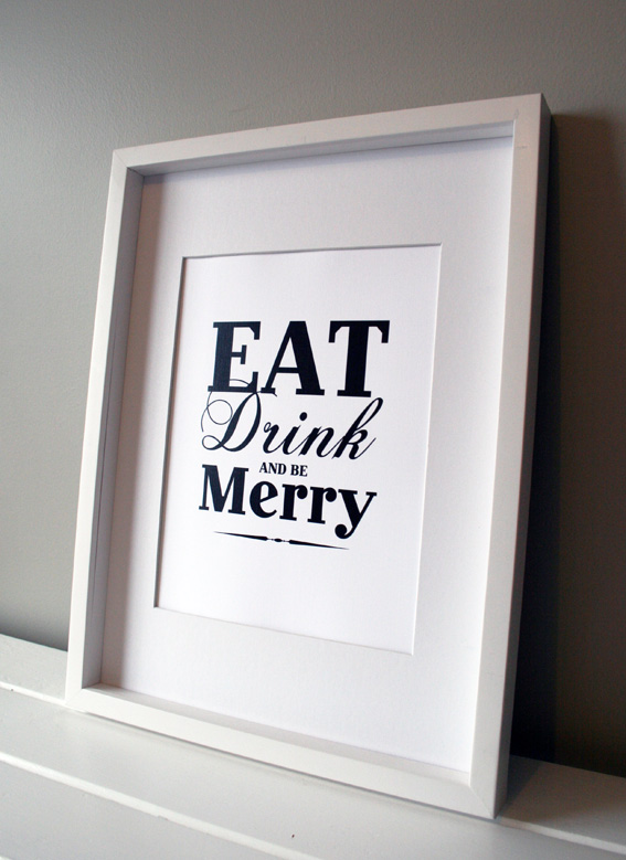 Eat Drink And Be Merry Home Decor Wall Art 8x10 Felt