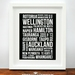 North Island Towns and Cities - Bus Blind, Subway Art, Wall Art Print 8x10