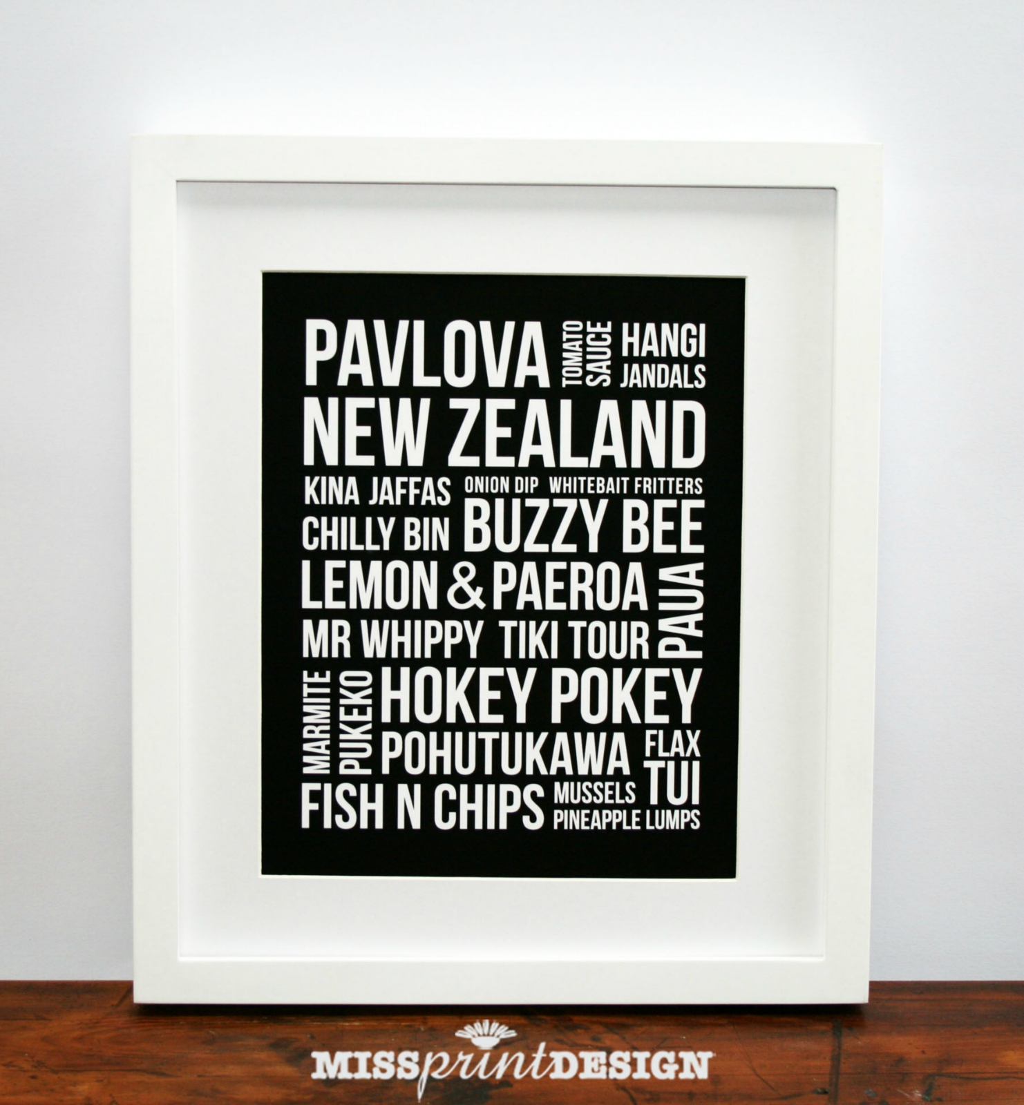 Nz Icons Kiwiana Bus Blind Subway Art Typographic Wall