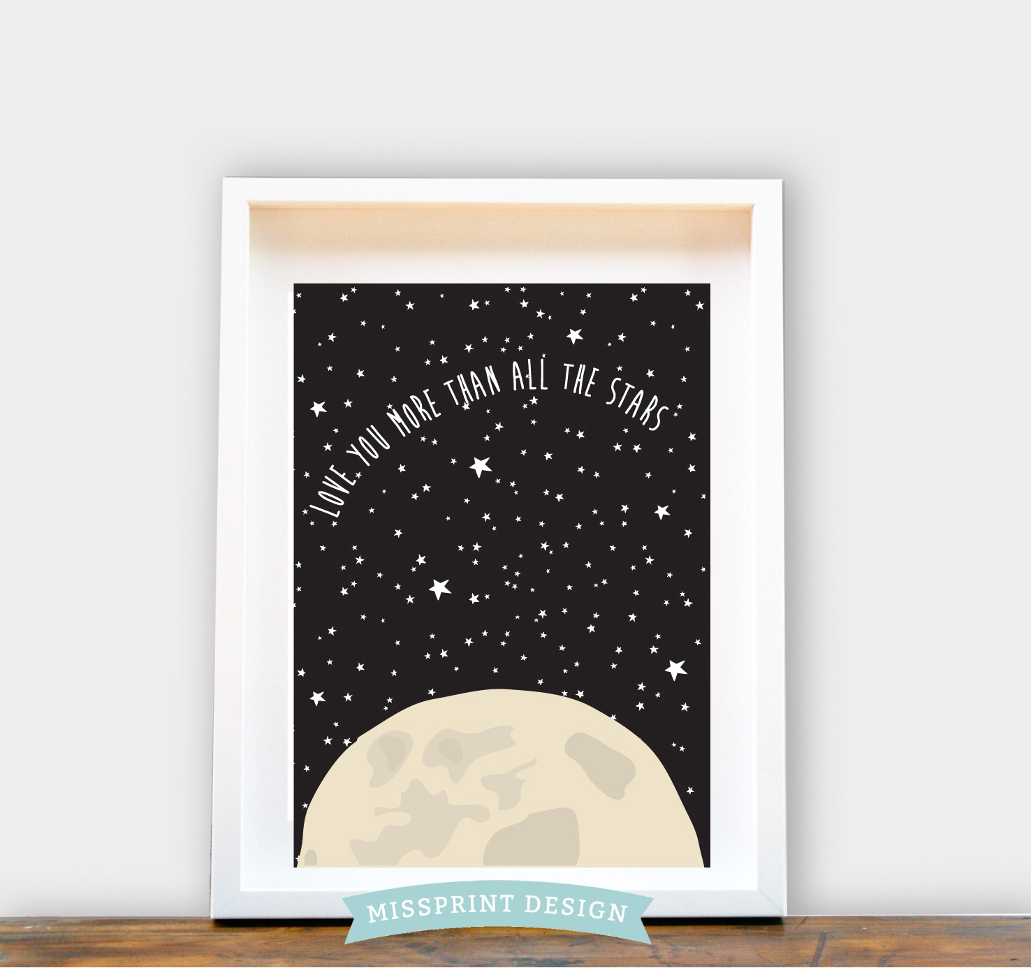 love you more than all the stars kids wall art 8x10 felt. Black Bedroom Furniture Sets. Home Design Ideas
