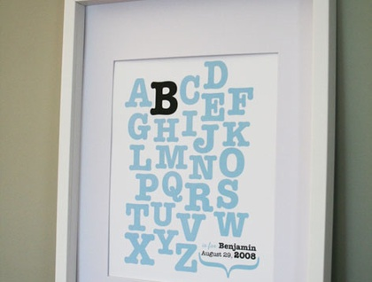 Baby Nursery Art - Personalized Alphabet Print 8x10