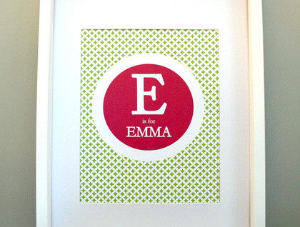 Monogram Nursery Print with Moroccan Pattern, Personalized 8x10