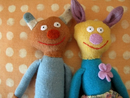 Mr and Mrs Rabbits - funky recycled jersey toys.