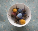 Colourful acorns - wet felted