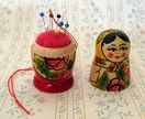 Babushka dool needle case/ pin cushion - for sewer on the go!