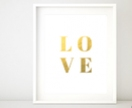 Love Typography Print Gold Foil Print