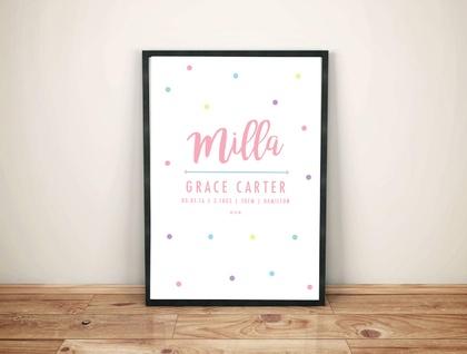 Personalised Birth Print, Wall Art - Polka Dot | Baby Shower
