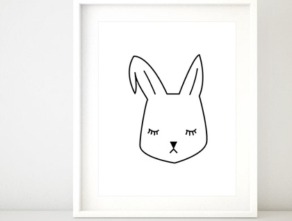 Bunny Rabbit Monochrome A4 Print