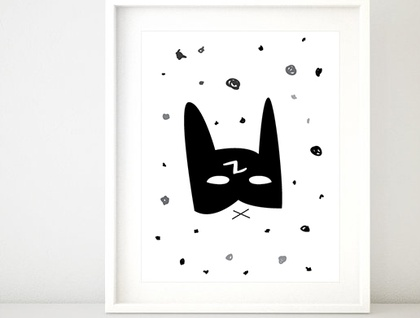 Batman Superhero Mask Print A4