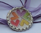 Cluster of Hearts Necklace - Bottle Cap Pendant