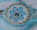 Turquoise Polka Dotted Bottle Cap Pendant