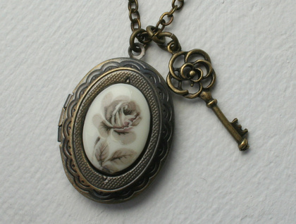 grey rose and key locket