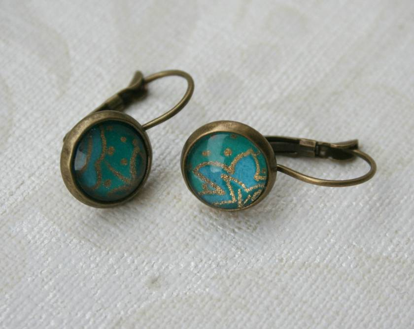turquoise glass dome earrings