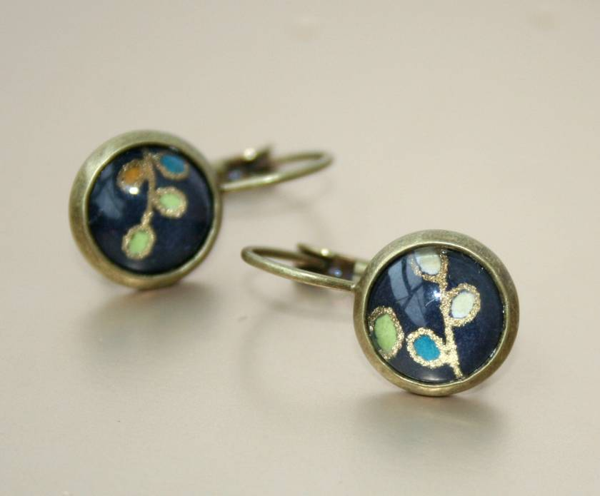 leverback drop earrings - midnight blossoms