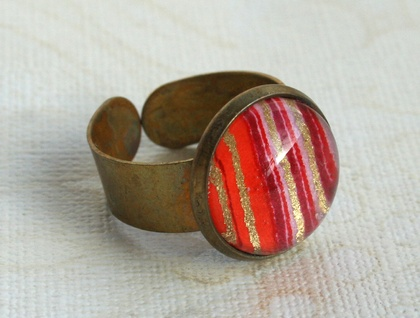 candy stripes glass dome ring