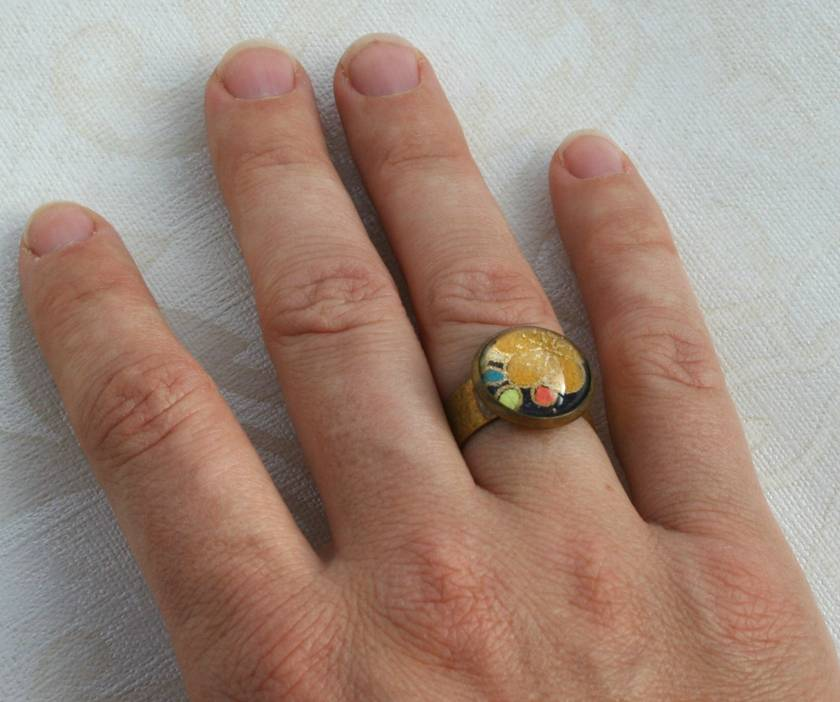 midnight blossoms glass dome ring