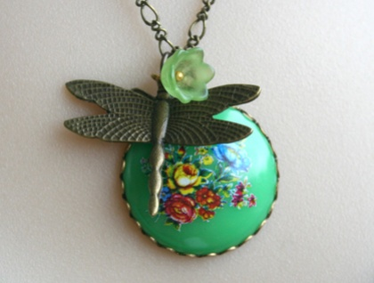 dragon fly and green floral pendant