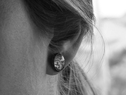 glass dome stud earrings - daydream floral