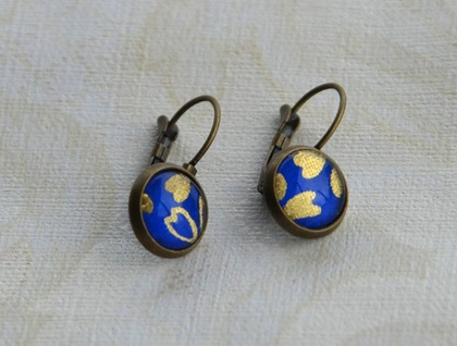 cobalt blue petals - leverback earrings