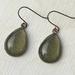 teardrop earrings - olive